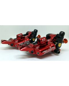 Juin Tech GT-P | Red | Four Pot Hybrid Hydraulic Road Disc Brake - Pair