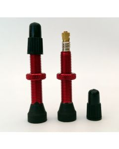 Red Alloy 34mm round bottom tubeless (notubes) valve - Pair