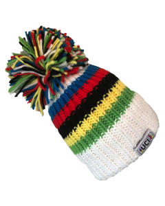 Big Bobble Hat | UCI White RAINBOW STRIPES