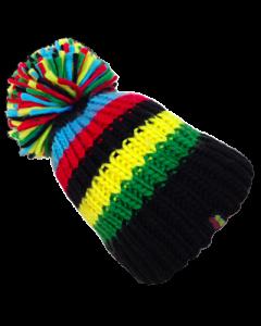Big Bobble Hat | BLACK RAINBOW STRIPES