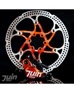Juin Tech X1 Hydraulic Cable Pull Disc Brake Black/Orange - Road | Cyclocross (CX)